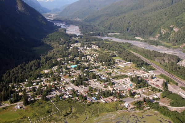 Aerial view of Stewart, BC, Canada